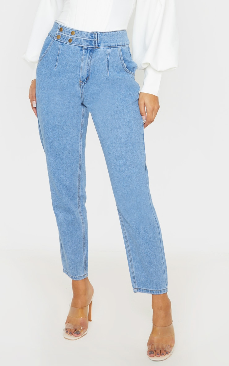 Mid Wash Button Waistband Detail Mom Jeans 2