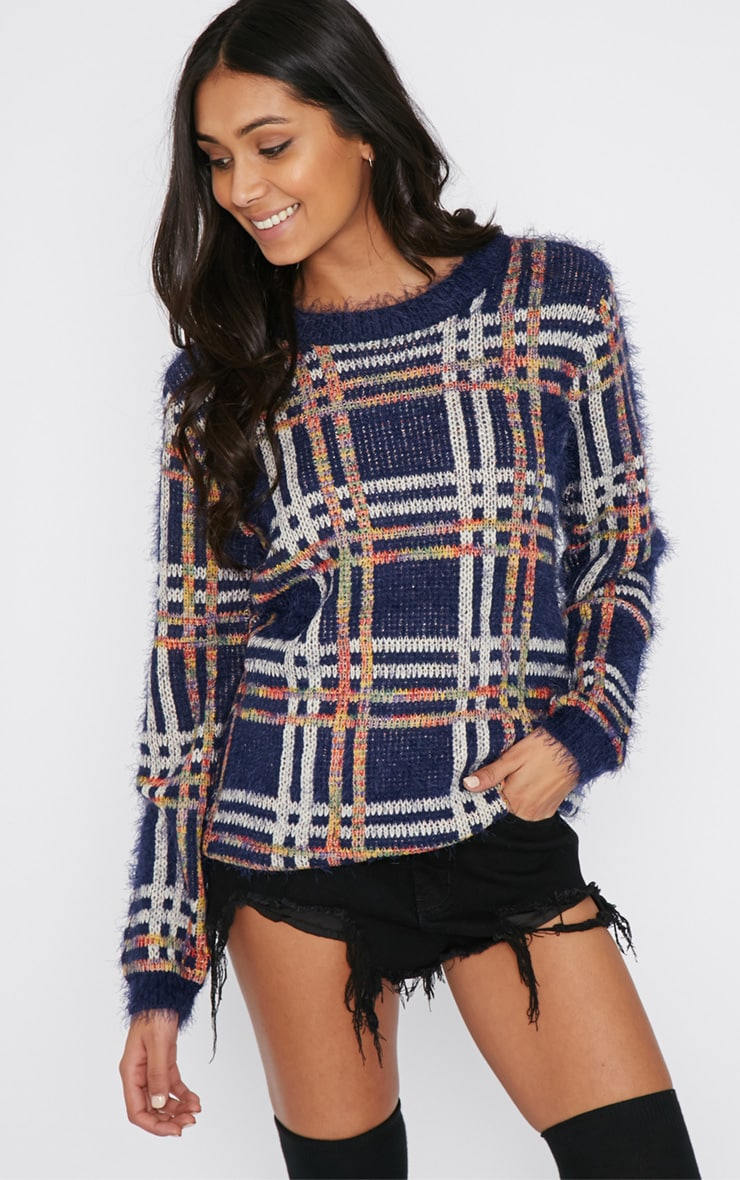 Sacha Blue Tartan Fluffy Jumper  1