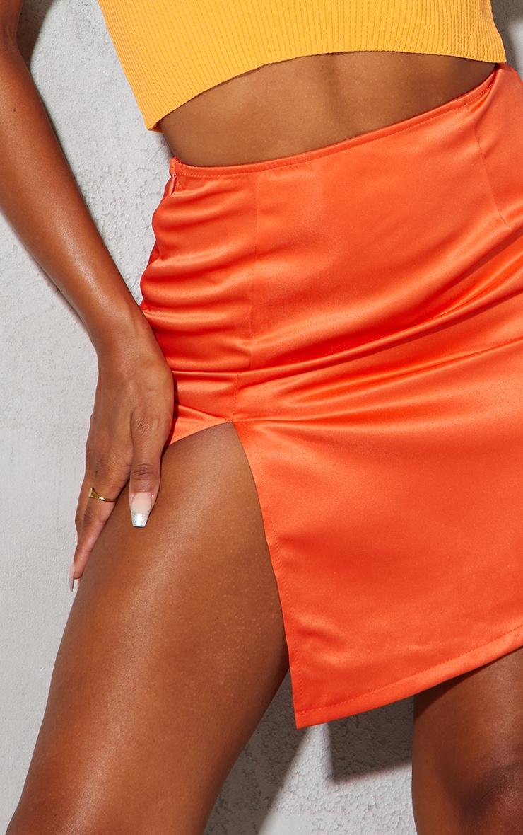 Burnt Orange Tailored Satin Split Front Mini Skirt 5