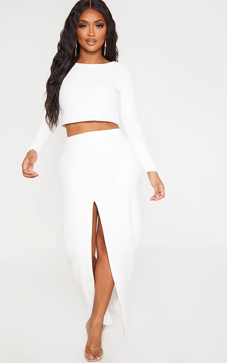 Shape Cream Jumbo Rib Long Sleeve Crop Top 4