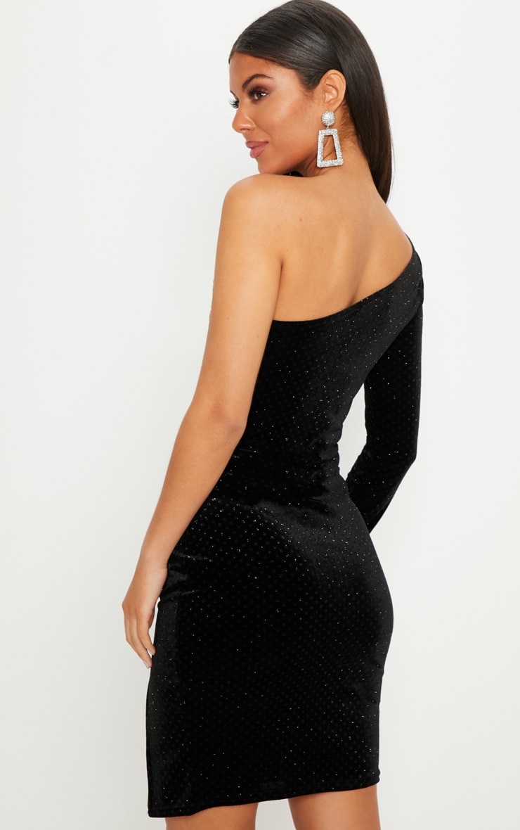Black Velvet Glitter One Shoulder Long Sleeve Mini Dress 2