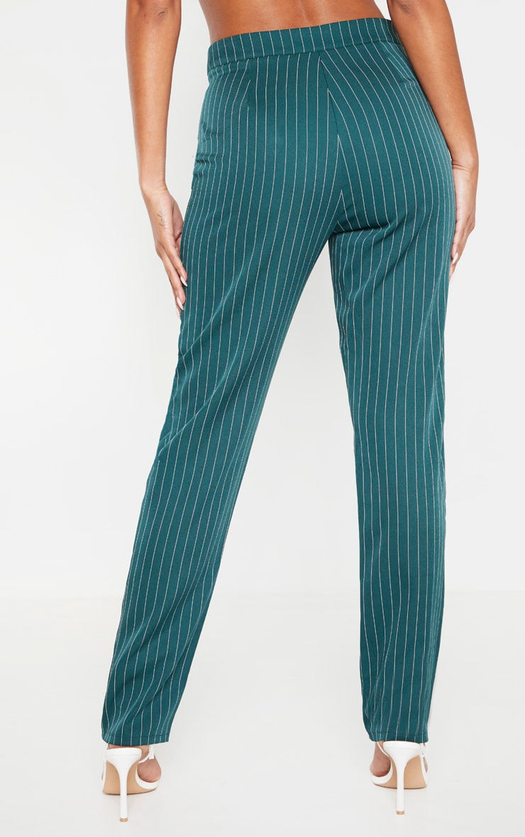 Jasper Green Pinstripe High Waisted Straight Leg Pants 4