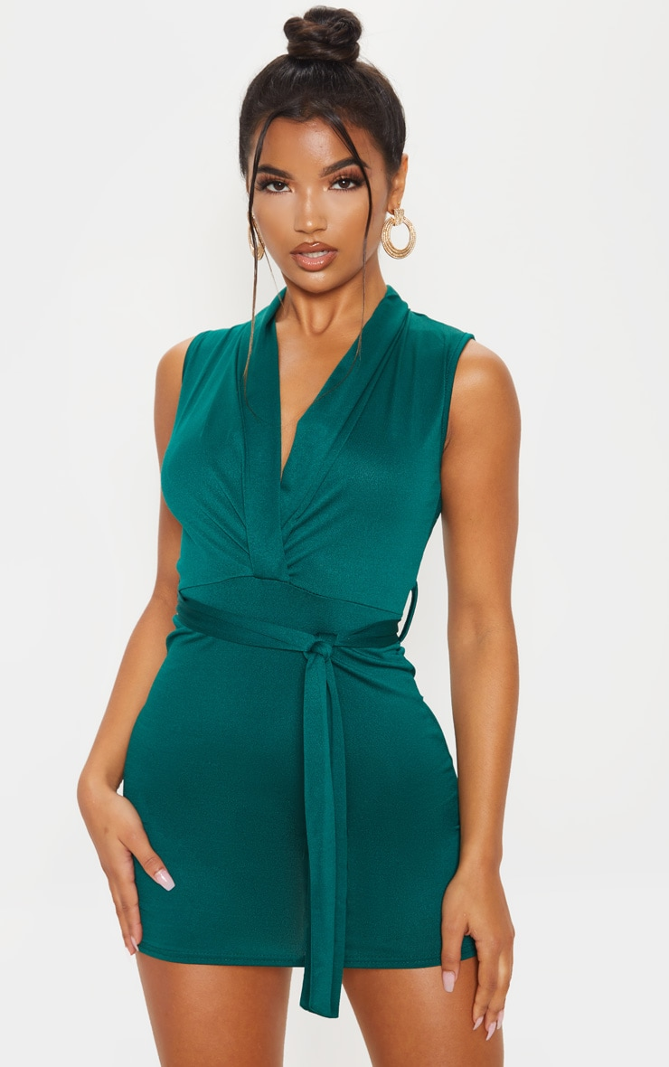 Emerald Green Lapel Detail Plunge Bodycon Dress 1