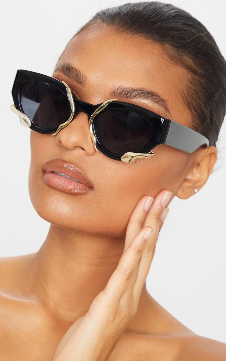 Black Frame Gold Trim Cat Eye Sunglasses 1