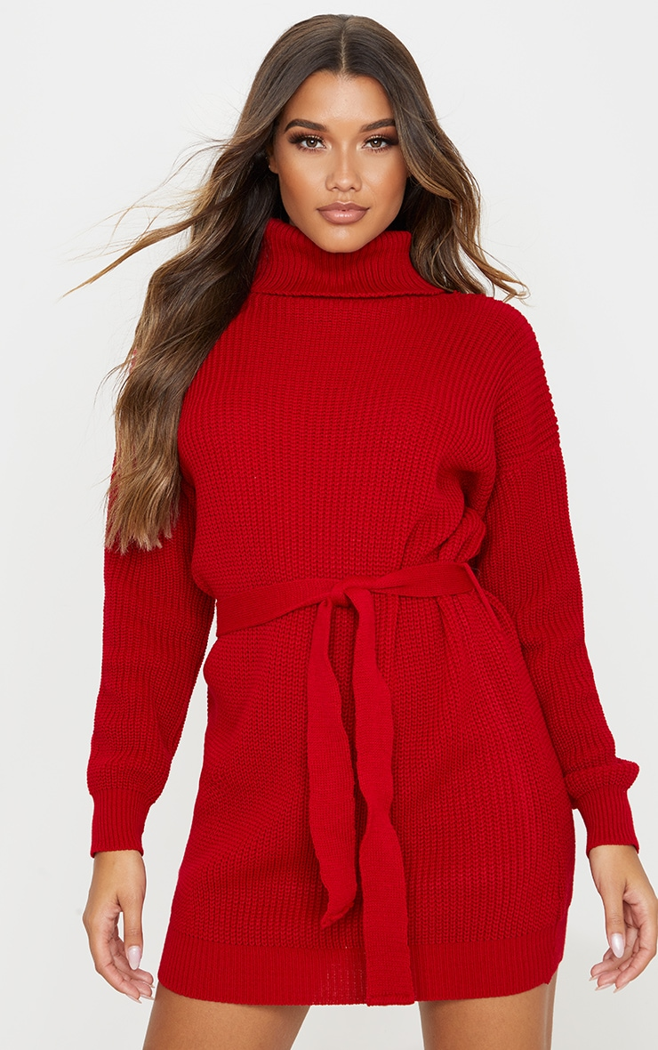Red Belted Roll Neck Knitted Jumper Dress Prettylittlething