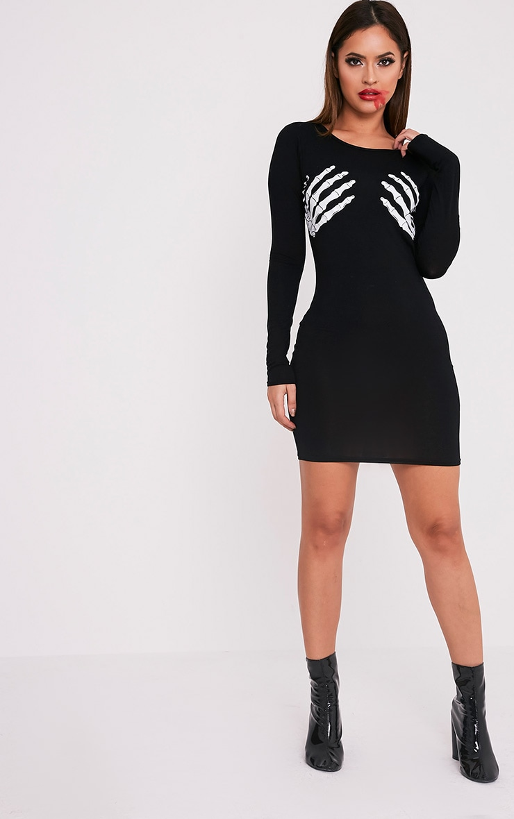 Bellatrix Black Glow In The Dark Skeleton Hand Dress 5