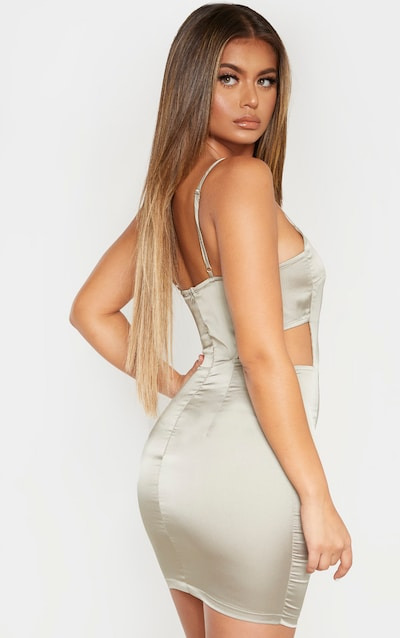 Sage Green Satin Cut Out Side Bodycon Dress