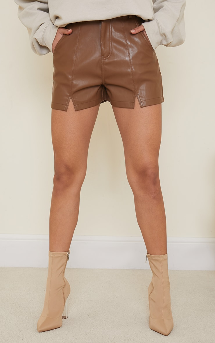 Chocolate Seam Detail Faux Leather Shorts 2