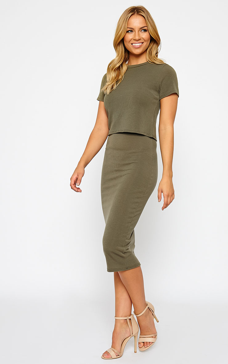 Basic Khaki Ribbed Midi Skirt 1