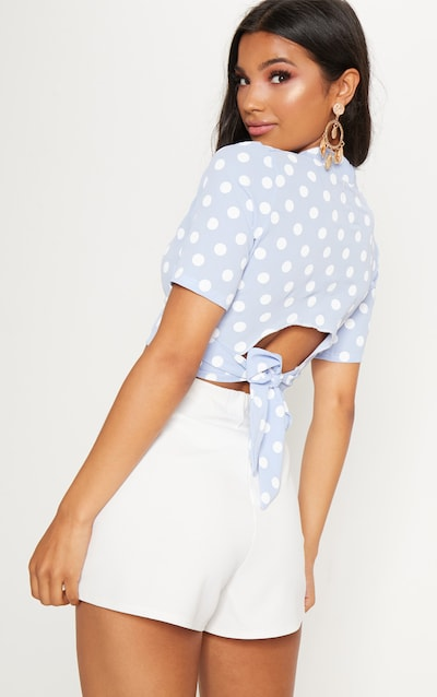 White Polka Dot Tie Back Crop Short Sleeve Blouse Pretty Little Thing Cheap How Much FG84ohi