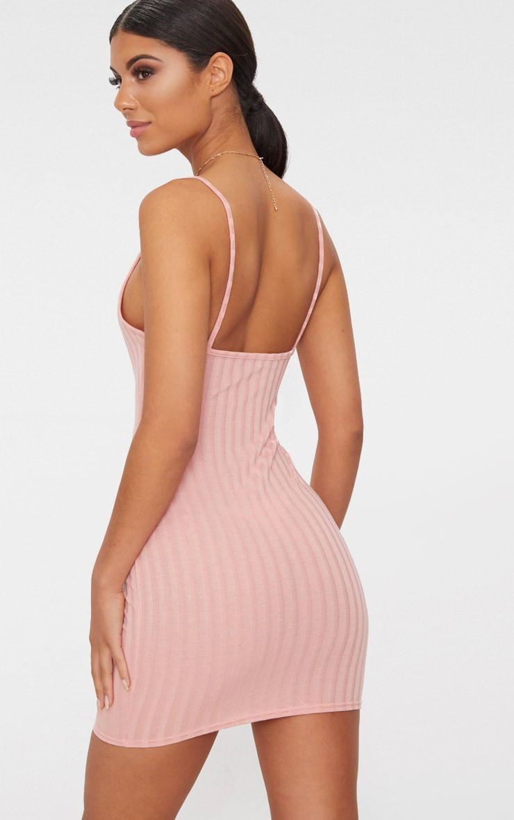 Pink Rib Knit Strappy Dress 2