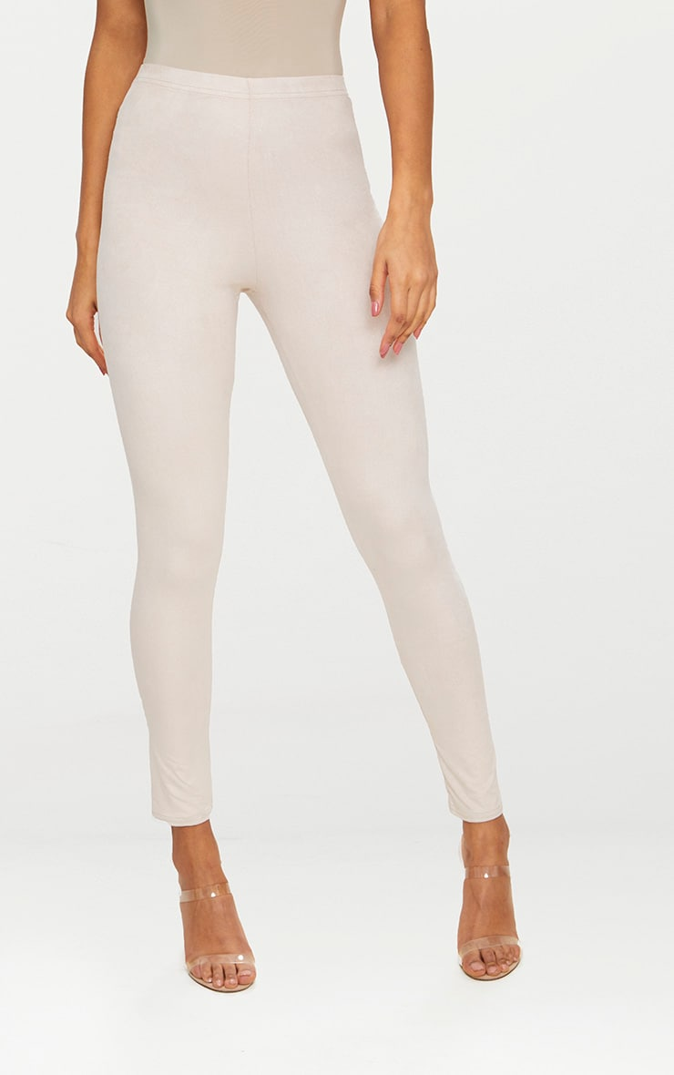 Cream Faux Suede Skinny Trousers 2
