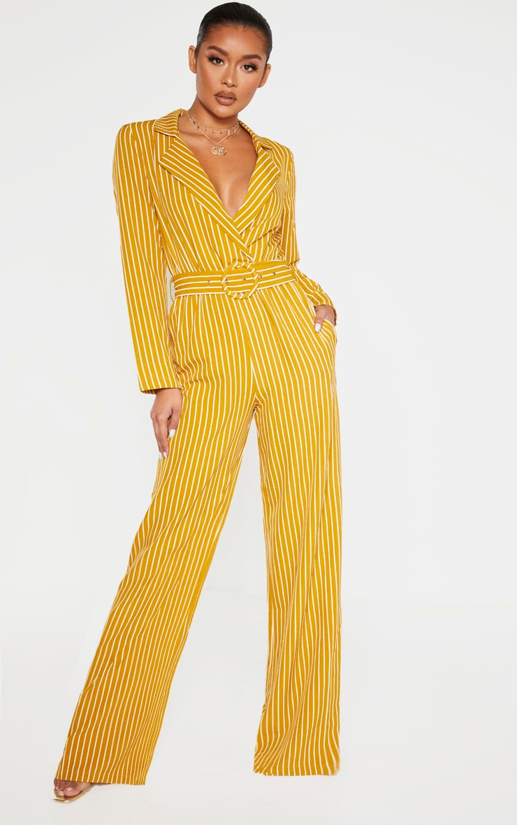 Mustard Pinstripe Belt Detail Wide Leg Jumpsuit 1