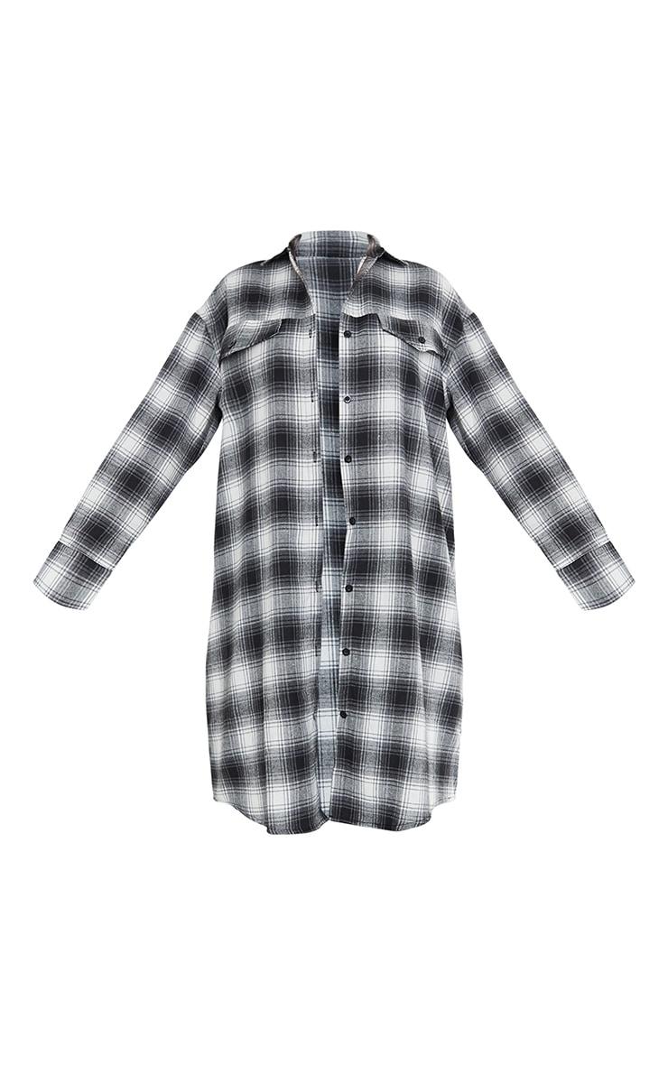 Black Oversized Maxi Check Shirt 5
