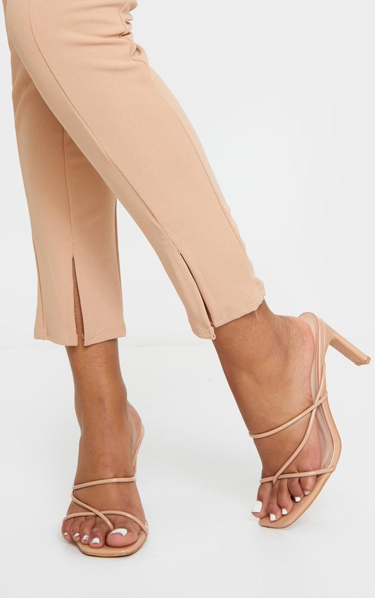 Nude Triple Strap Toe Thong Flat Heel Square Toe Mules 2
