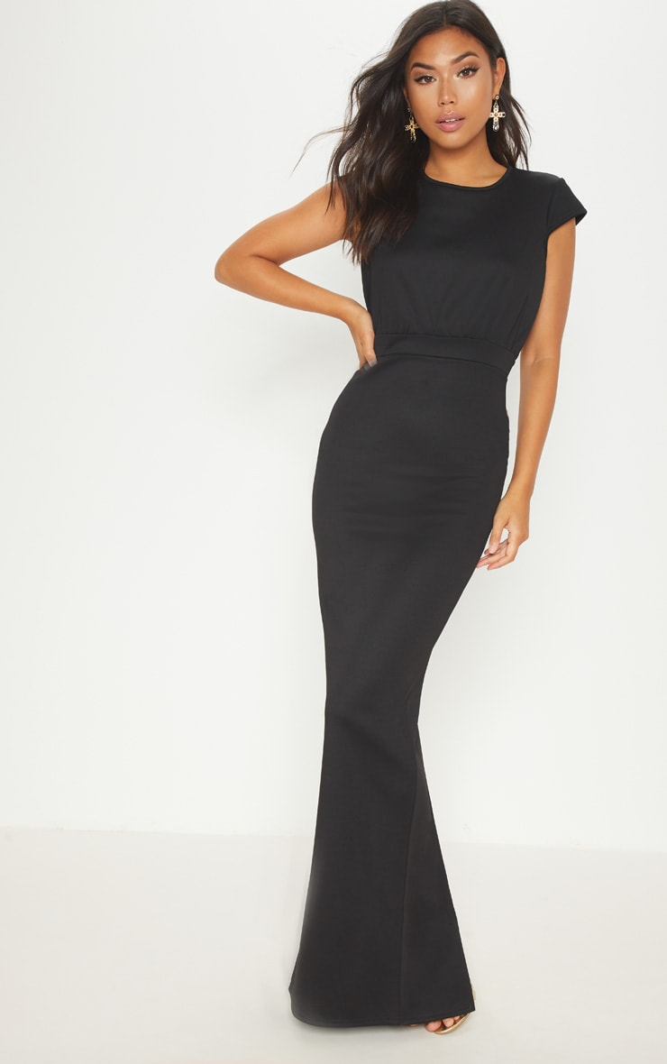 Black Strappy Back Detail Maxi Dress