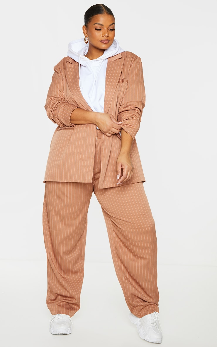 Plus Brown Pinstripe Woven High Waisted Cigarette Pants 1