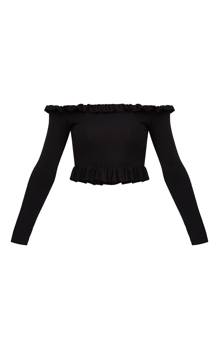 Black Bardot Frill Jersey Crop Top 3