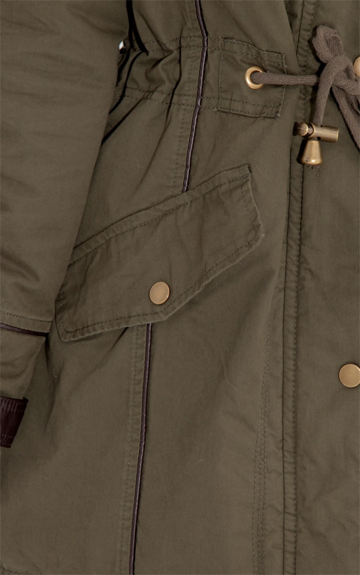 Alka Light Khaki Drawstring Parka 4