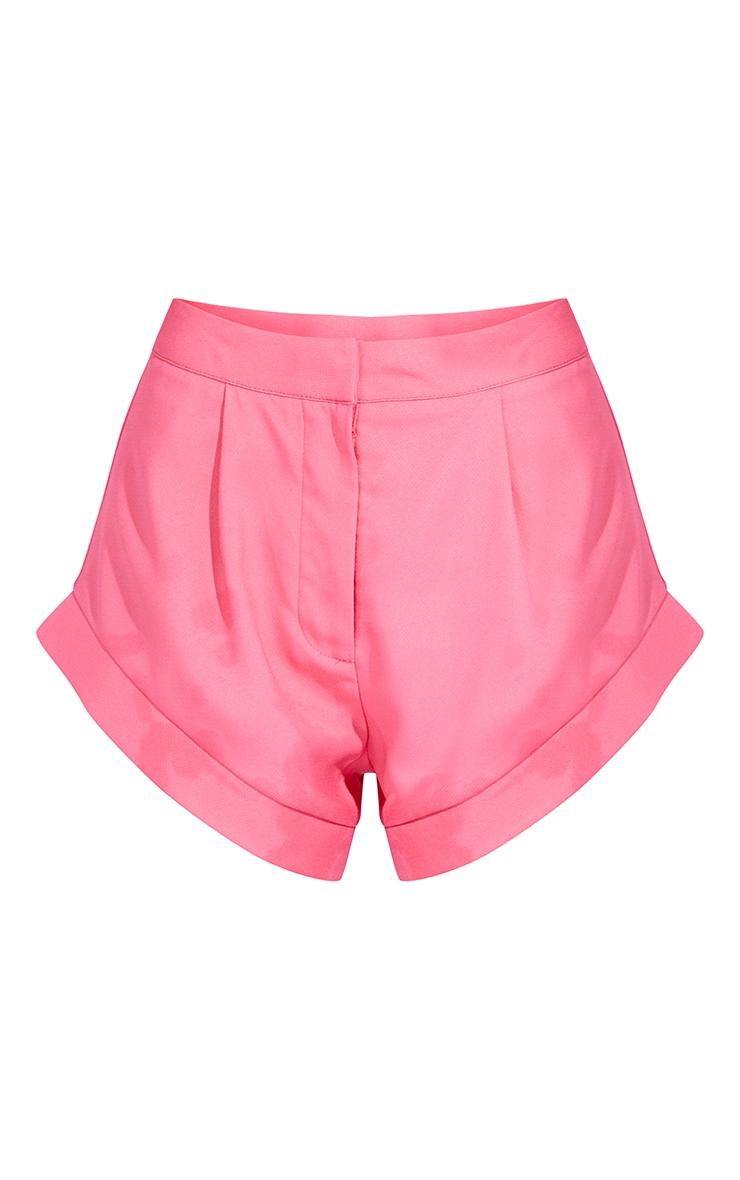 Hot Pink Woven High Leg Turn Up Hem Shorts 6