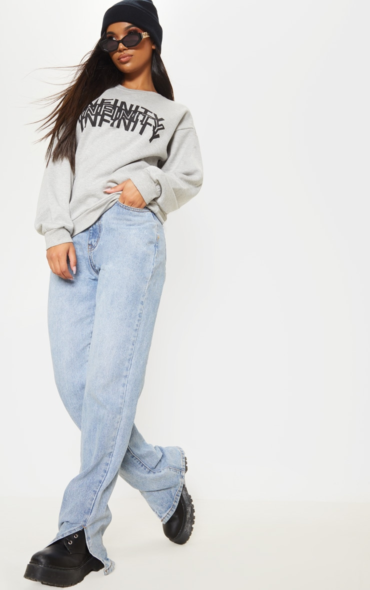 Grey Infinity Slogan Back Print Oversized Sweater 5