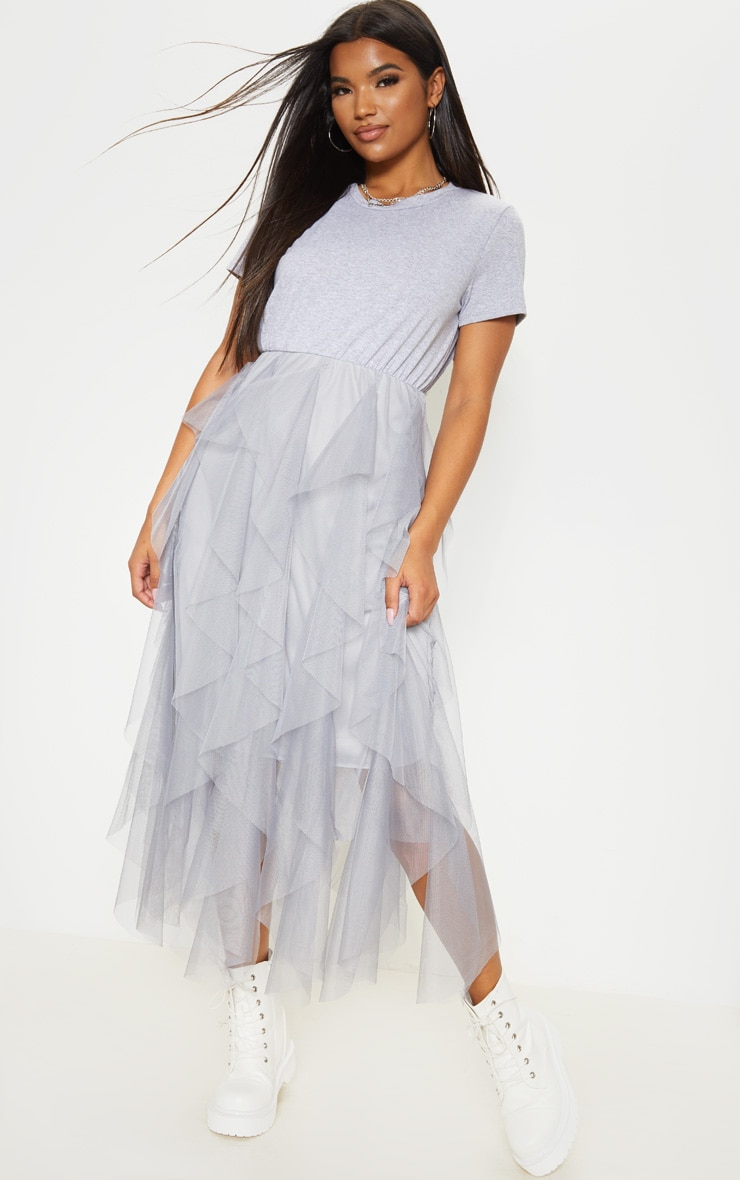 Super discount new style of 2019 rock-bottom price Grey Tulle Detail T Shirt Dress