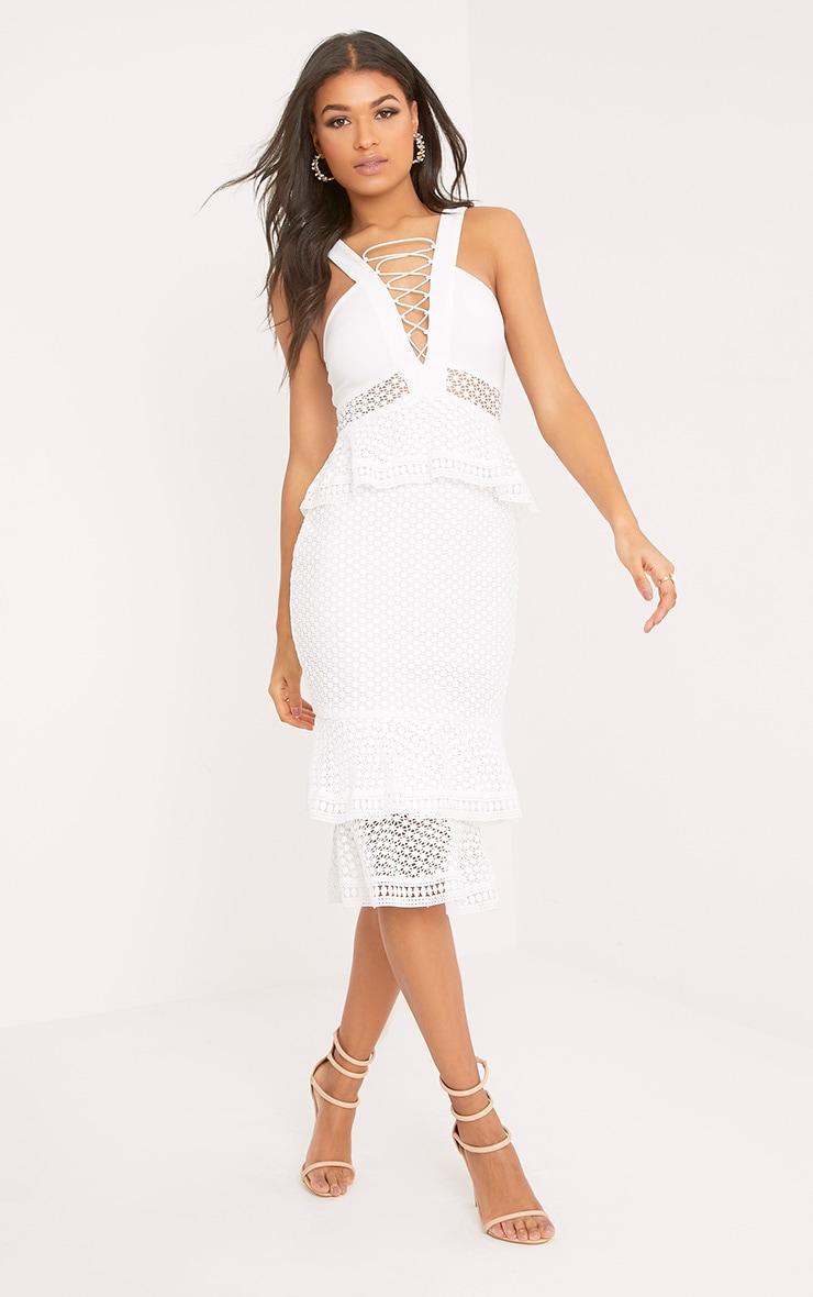 Rhea White Lace Up Frill Detail Midi Dress 4