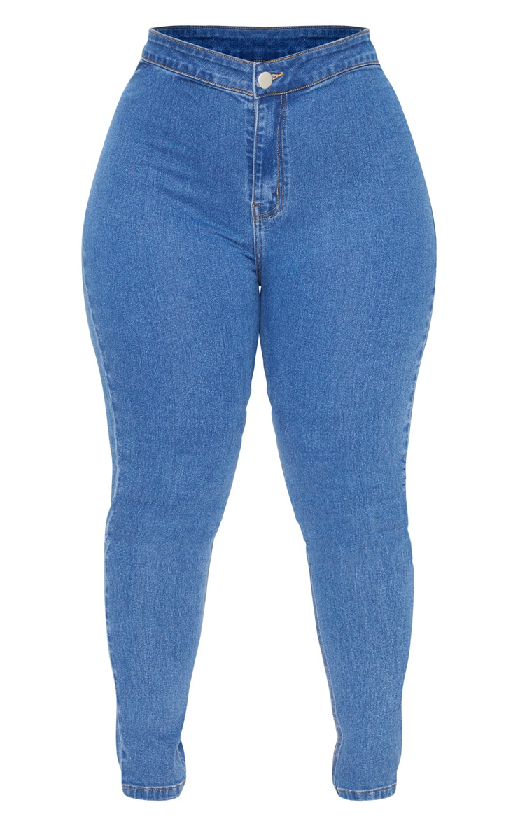 Plus Mid Wash High Rise Skinny Jeans 3