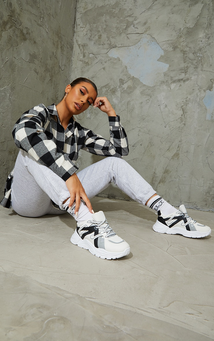 Monochrome Chunky Panelled Trainers 1