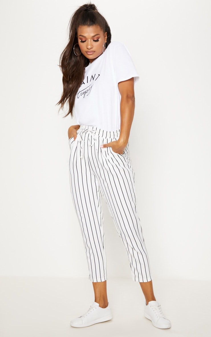 Diya White Pinstripe Casual Trousers 1