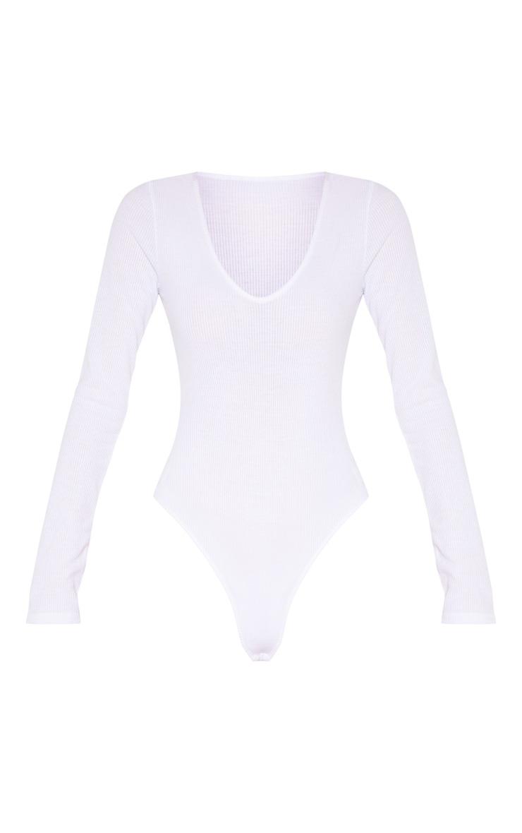 Tall White Ribbed Plunge Long Sleeve Bodysuit 3