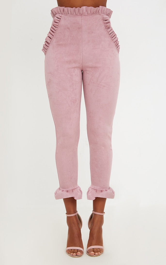 Rose Faux Suede Frill Trim Trousers 2