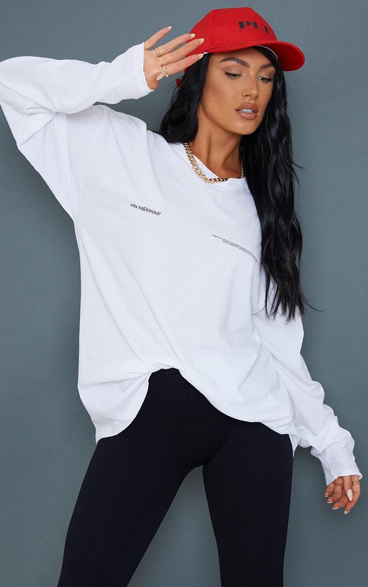 PRETTYLITTLETHING White International  Long Sleeve T Shirt 1