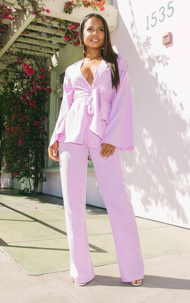 Petite Lilac Woven Wide Leg Suit Trousers 1