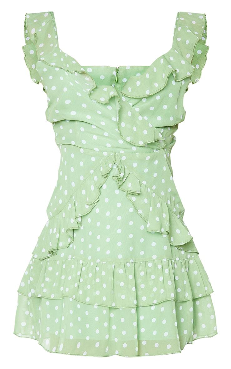 Sage Green Polka Dot Print Chiffon Frill Detail Strappy Bodycon Dress 5