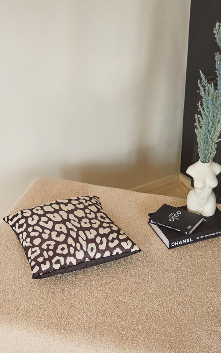 Black Satin Leopard Print Filled Cushion 3