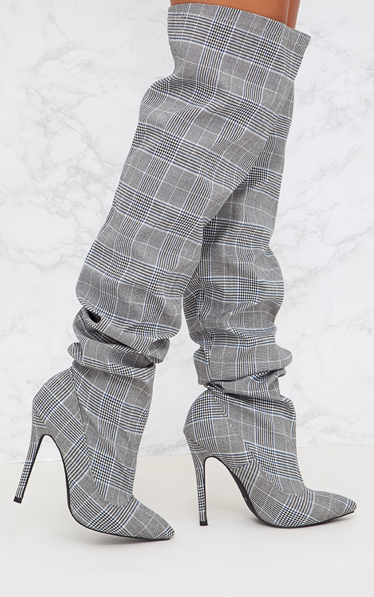 Grey Check Heeled Slouch Boots 1