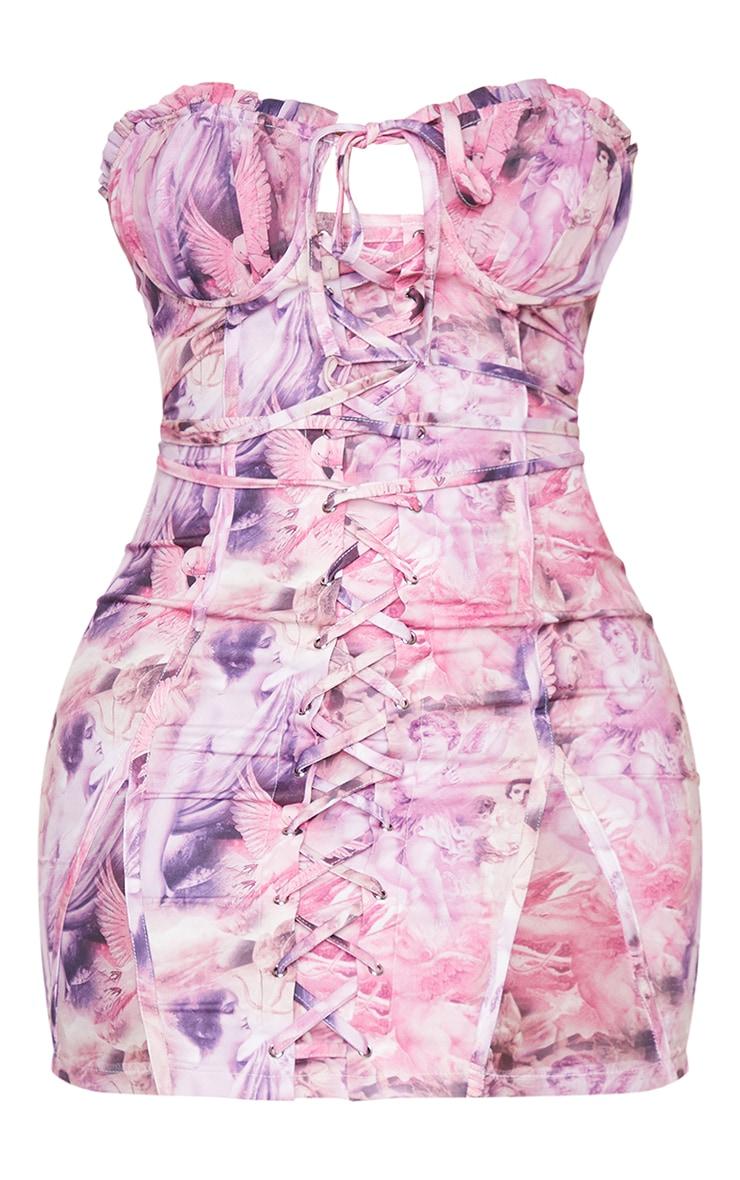 Shape - Robe moulante imprimé Renaissance rose à détail bonnets et lacets 5