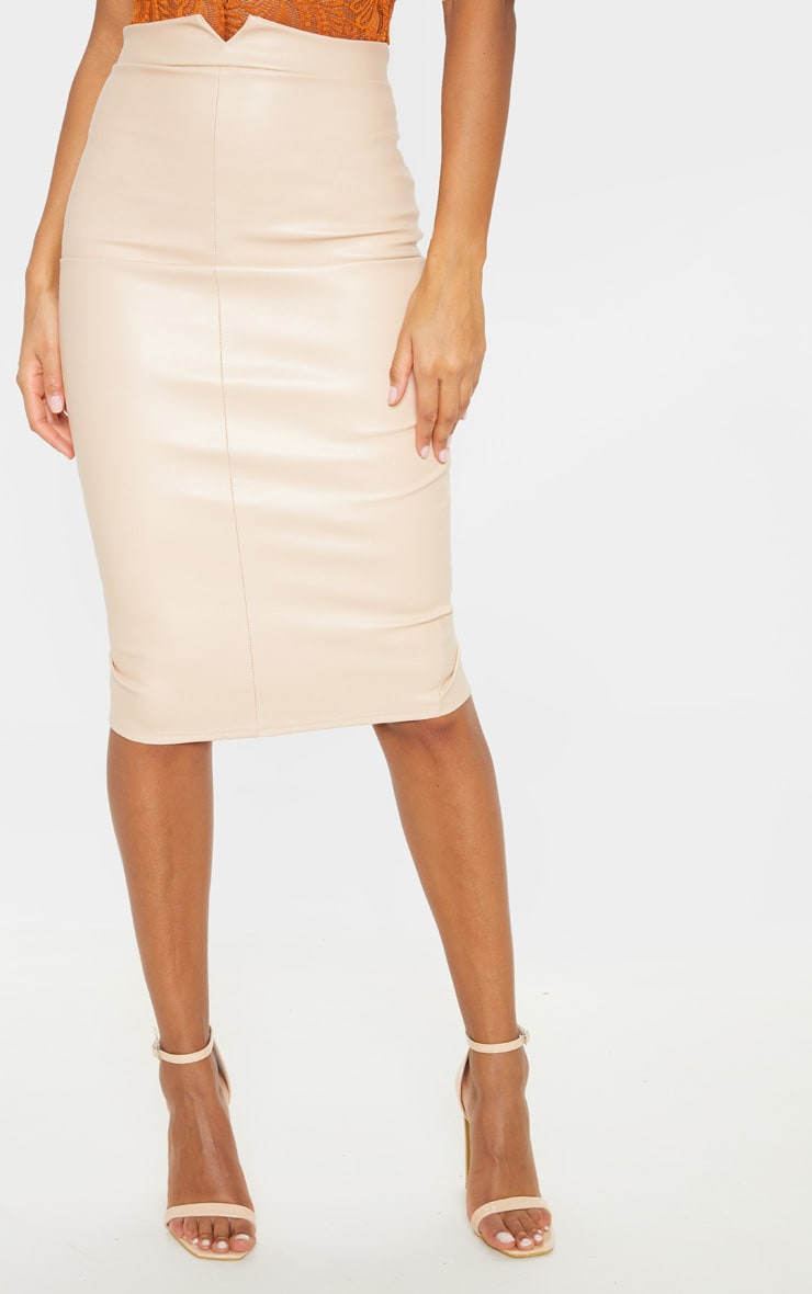 Eva Nude Faux Leather Panel Midi Skirt 2