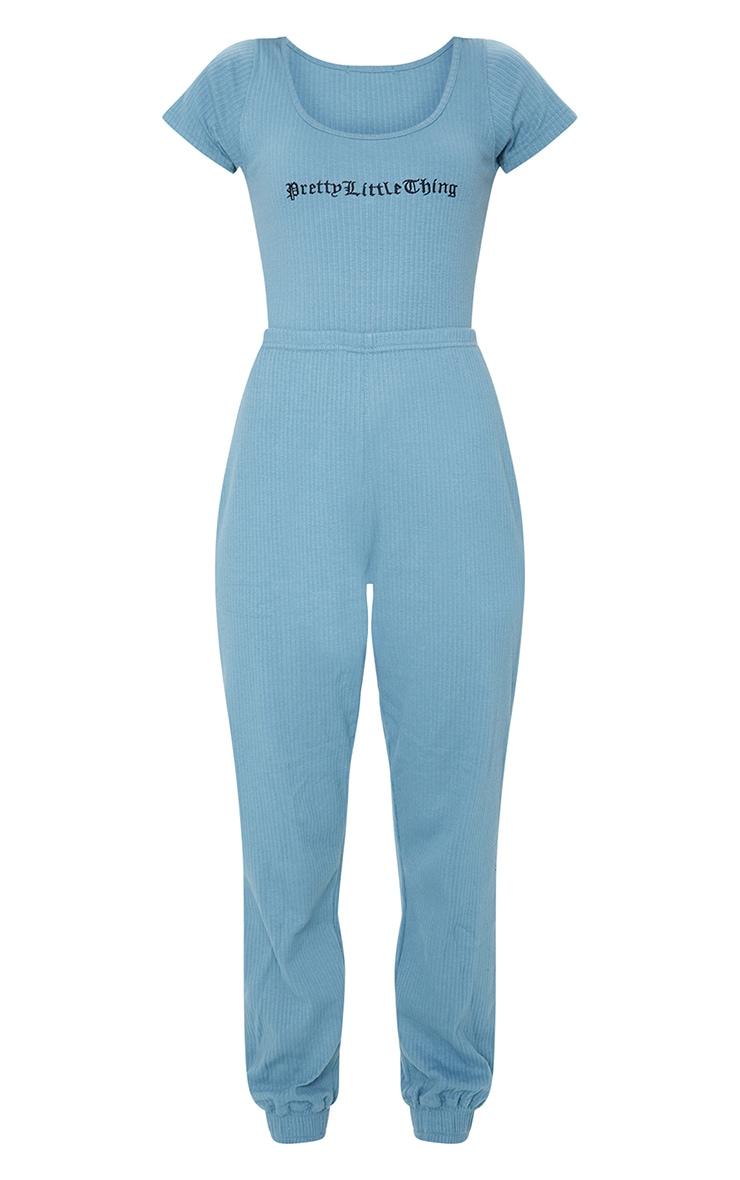 PRETTYLITTLETHING Petrol Blue Thick Rib Cuffed Jumpsuit 5