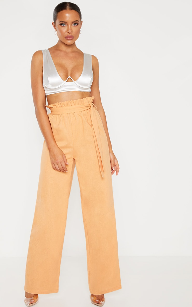 Peach Paperbag Waist Flare Linen Mix Pants 1