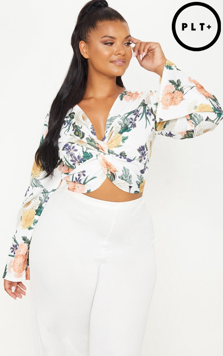 Plus White Floral Twist Front Crop Top 1