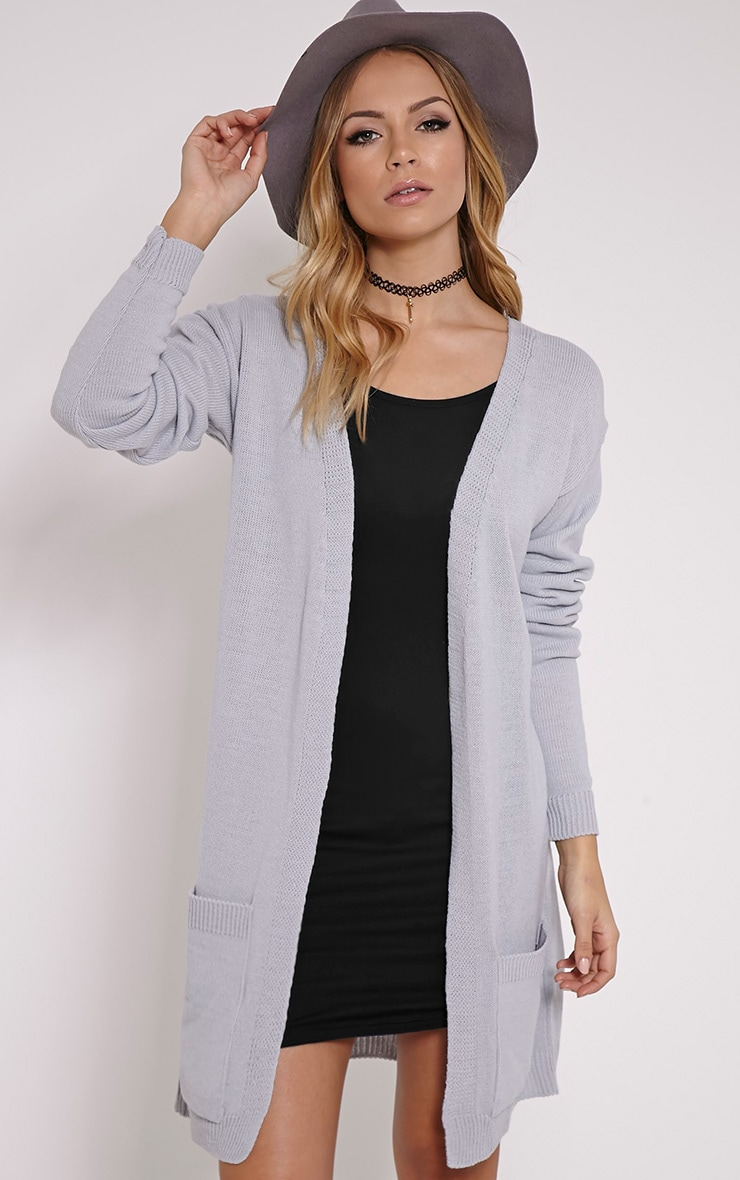Leanne Grey Fine Knit Cardigan 1