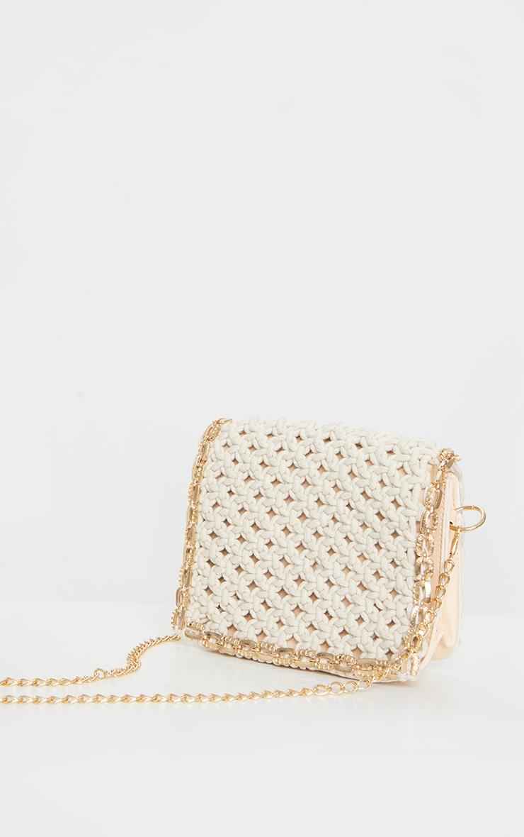 Cream Woven Gold Trim Cross Body Bag 3