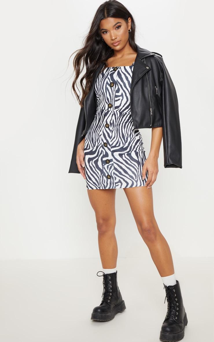 Monochrome Zebra Tortoise Shell Button Front Bodycon Dress 1