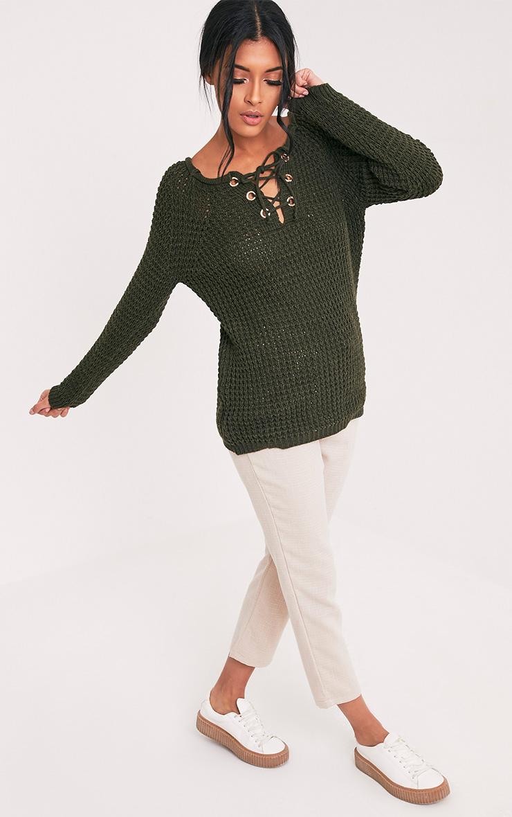 Haidyn Khaki Lace Up Knitted Jumper 5