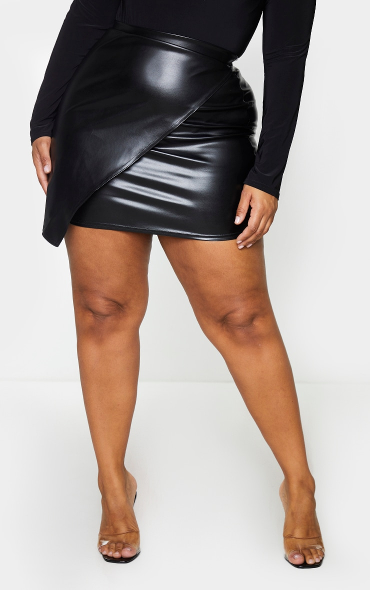 Plus Luisa Black Faux Leather Wrap Mini Skirt 2