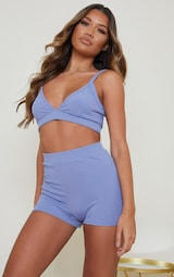 Blue Ribbed Triangle And Short Lingerie Set 3