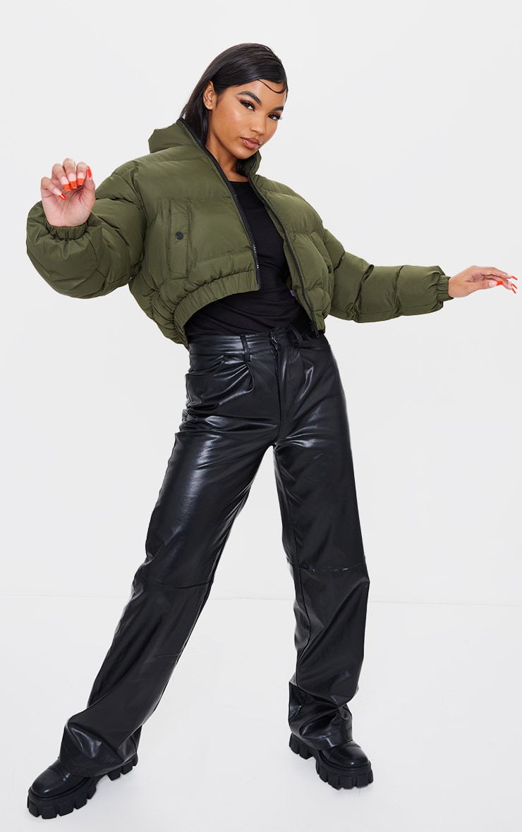 Khaki Cropped Bubble Zip Detail Puffer Jacket 3