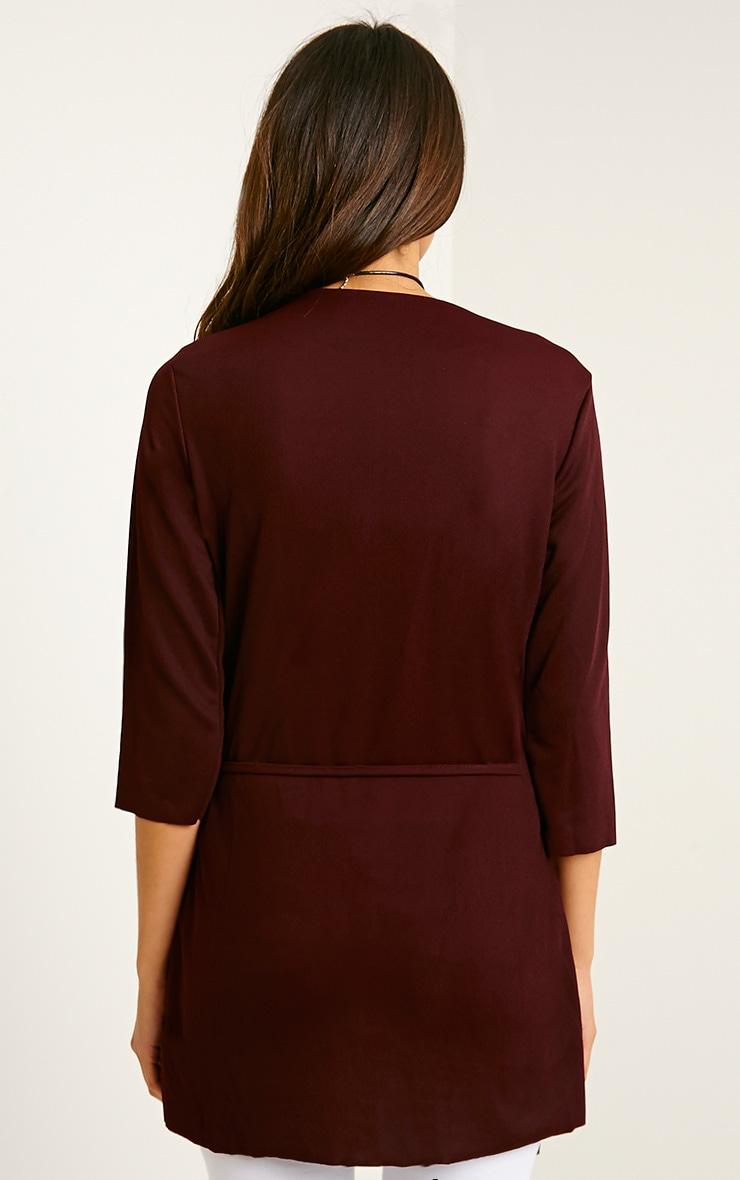 Siran Burgundy Belted Jacket 2